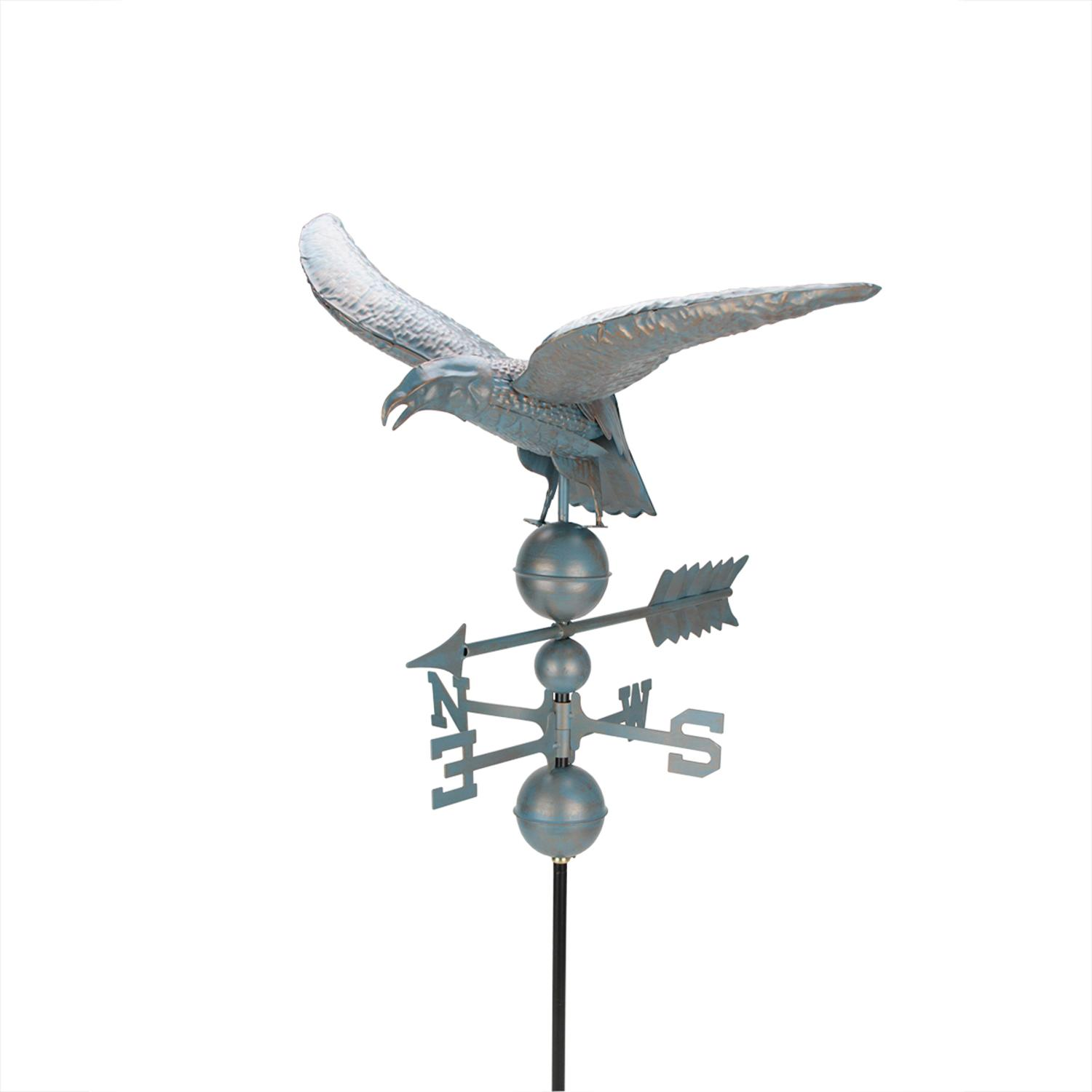 3' Weathered Copper Patina Eagle Outdoor Weathervane by DAK