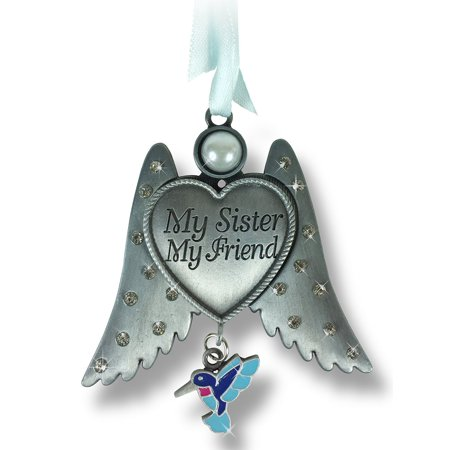 Sister Angel Wings Ornament with Humming Bird -