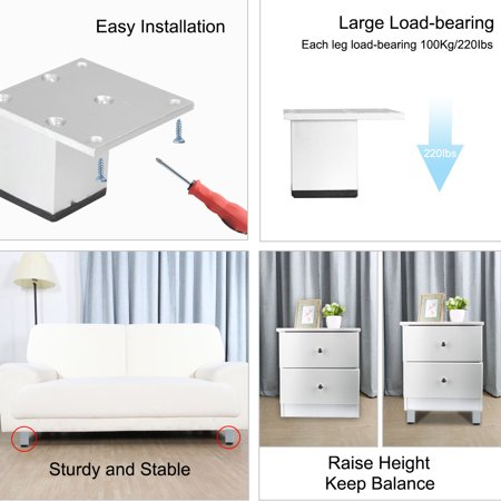 "2"" Furniture Legs Aluminium Alloy Table Feet Replacement Height Adjuster 5pcs - image 3 de 7"