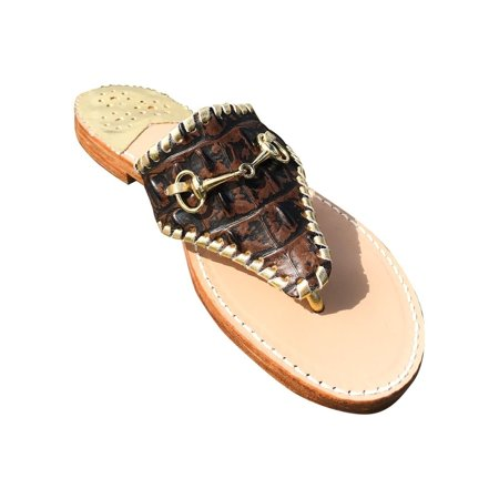 Palm Beach  Wellington Handcrafted Leather Sandals -  Choc Croc/Gold, Size