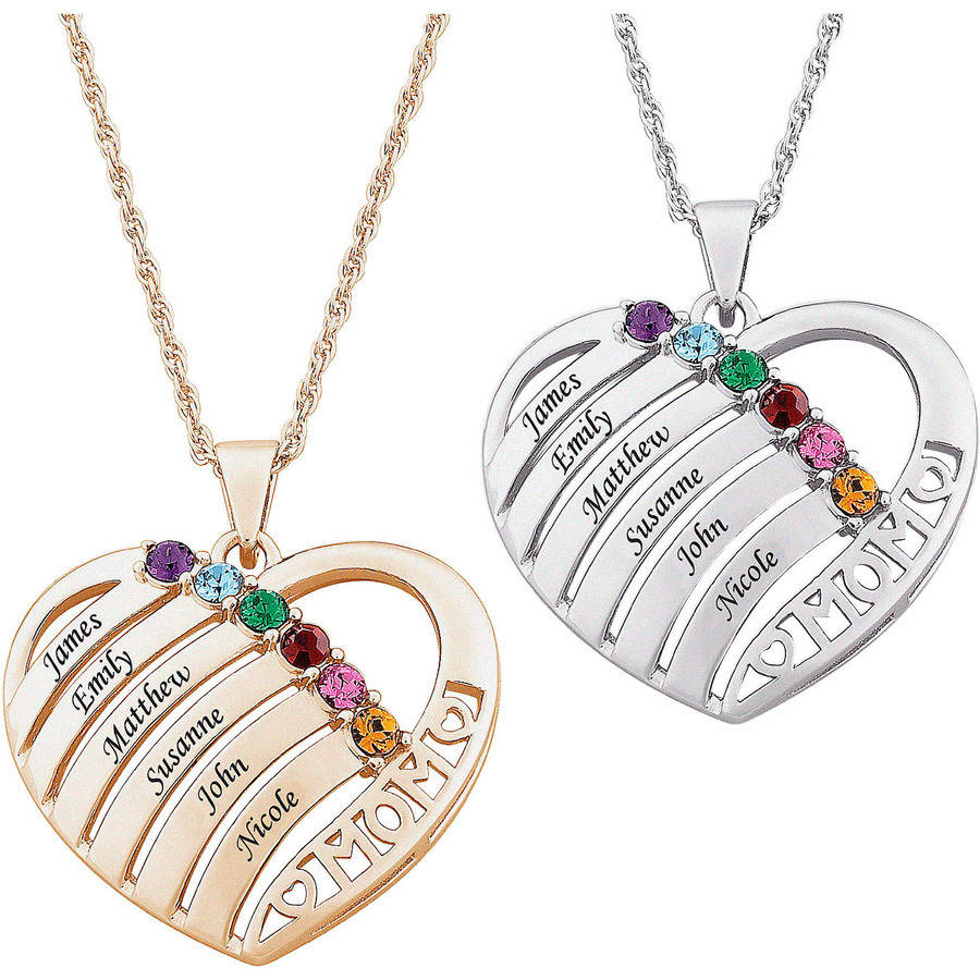 Personalized Mother Birthstone & Name Heart Necklace, 20""