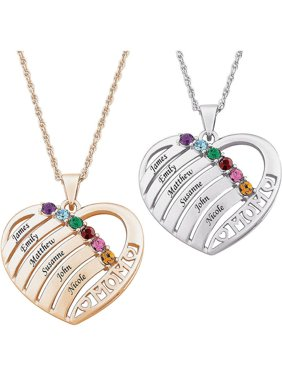 Personalized Mother Birthstone Name Heart Necklace