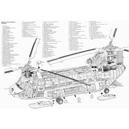 Laminated Poster Chinook Helicopter Diagram Schematic Blue Poster Print 24 x 36