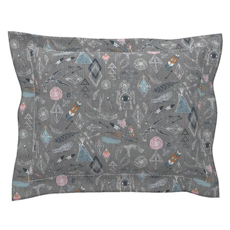Mid Century Modern Decor - Boho Gypsy Floral Mid Century Modern Nursery Decor Boho Pillow Sham by Roostery