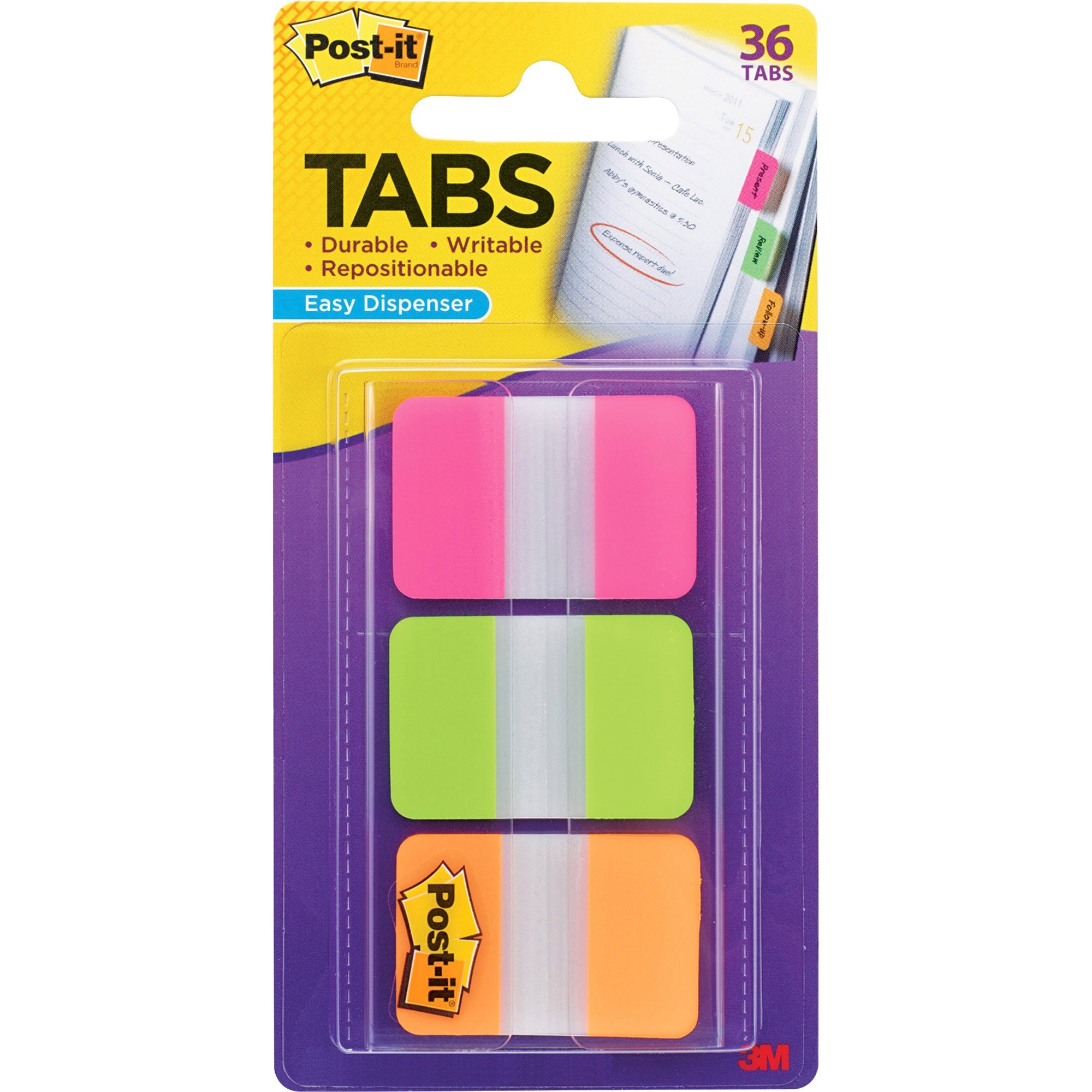 Post-it®, MMM686PGOT, Durable Filing Tabs with Dispenser, 36 / Pack
