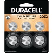 Duracell 2032 3V Lithium Coin Battery with Bitter Coating, 6 Pack