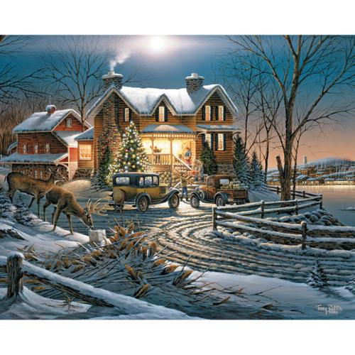 """Jigsaw Puzzle Terry Redlin 1000 Pieces 24""""X30""""-Sharing The Bounty"""