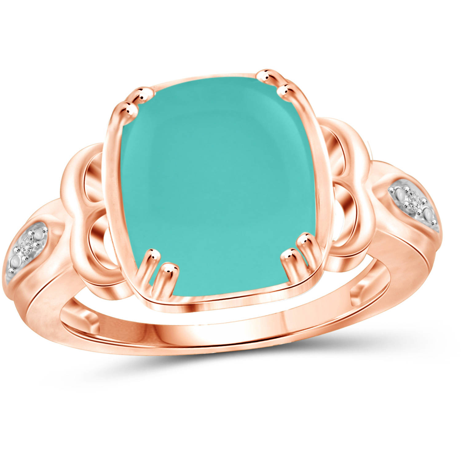 JewelersClub 5 Carat T.G.W. Chalcedony and White Diamond Accent Rose Gold over Silver Fashion Ring by JewelersClub
