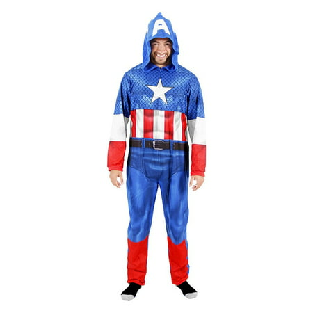 Captain America Adult Union Suit Costume Pajama Onesie with Hood