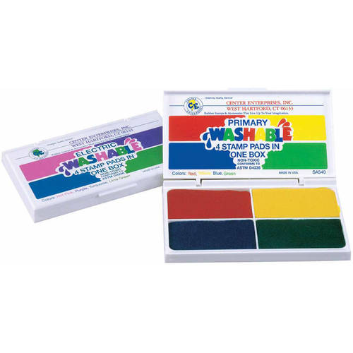 "Center Enterprises 4-in-1 Washable Stamp Pad, 3"" x 1.5"", Multiple Colors"