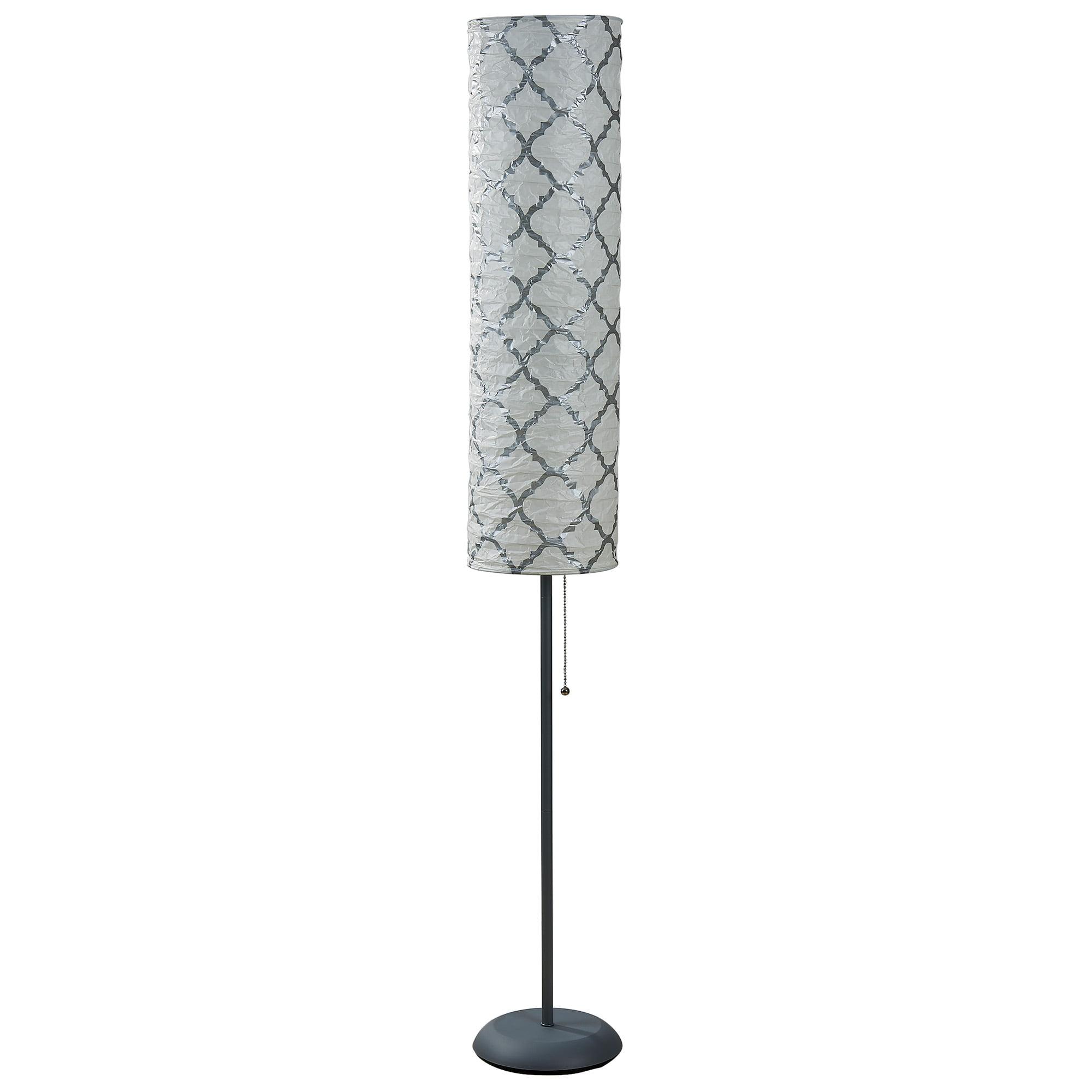 Mainstays 54 Quot Metallic Silver Rice Paper Shade Floor Lamp