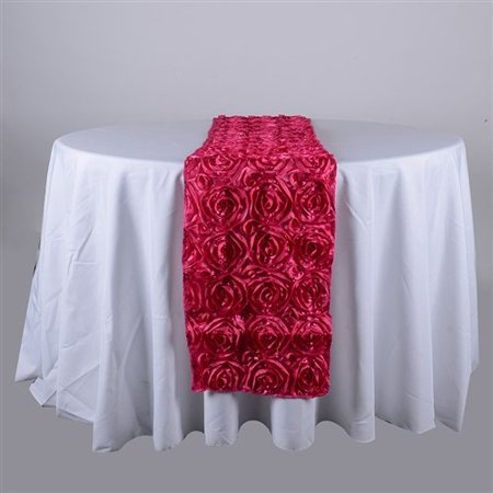 14 Inch x 108 Inch Rosette Table Runner (Fuchsia), Ship in 1 Business Day. By BBCrafts