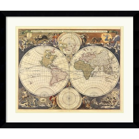 Amanti art framed art print new world map 17th century by ria amanti art framed art print new world map 17th century by ria visscher gumiabroncs Image collections
