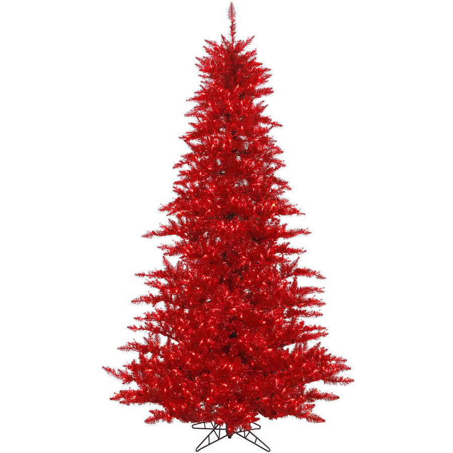 Vickerman 3' Tinsel Red Fir Artificial Christmas Tree with 100 Red Lights