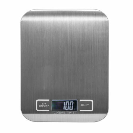 Digital Kitchen Scale Multifunction Food Scale, 11lb/5kg, Silver, Stainless Steel