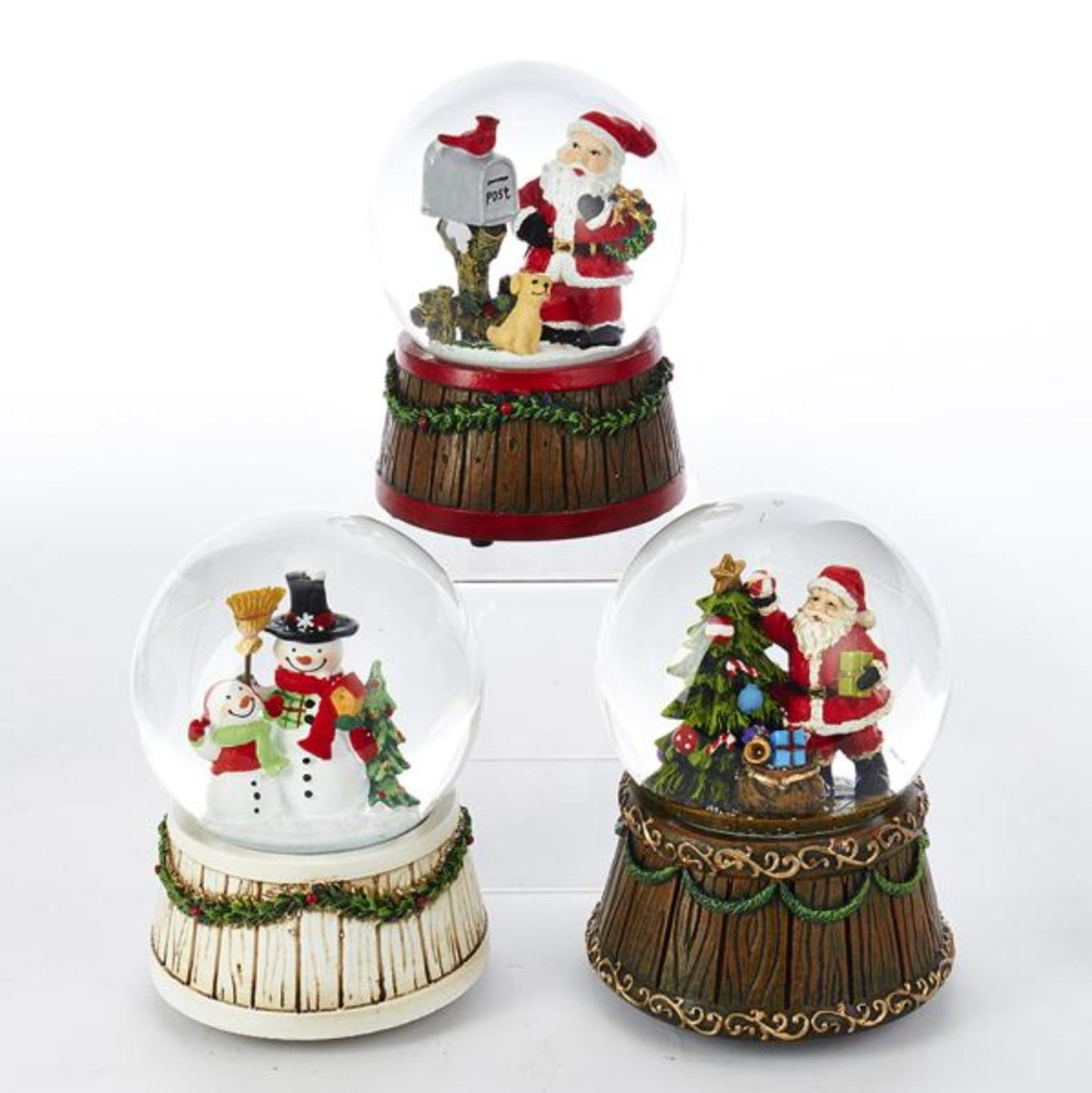 Club Pack of 12 Vibrantly Colored Musical Wind-up Santa Claus and Snowman Water Globes 3.93""