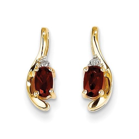 14k Yellow Gold 0.5IN Long 5x3 Oval Diamond & Garnet Earrings (Diamond Long Earrings)