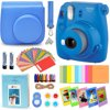 "Fujifilm Instax Mini 9 Instant Fuji Camera (COBALT BLUE) + Accessories Bundle + Custom Matching Case w/Neck Strap + Photo Album + Assorted Frames + 4 Color Filters + 60 Sticker Frames + MORE  P.S. Requires Fujifilm instax Mini Instant Film (not included)  The new, Instax Mini 9 camera retains the ease of use and attractive design elements of the extremely popular Instax Mini 8 while adding some new features. The new, Instax Mini 9 features a small selfie mirror which is built into the front of the lens design for accurately composing self-portraits. Close up macro photos are now easier thanks to the included close-up lens adapter which allows you to focus on subjects as close as 35-50cm. The Instax Mini 9 retains all of the other great features found in the Mini 8 including: Automatic exposure measurement. The camera signals the recommended aperture setting with a flashing LED light and the user can manually adjust the dial to the recommended setting. This helps the user capture the perfect photo every time. The High-Key mode enables consumers to take brighter pictures with a soft look -perfect for portraits.**Specifications:**Film: Fujifilm Instant Film ""instax mini"" Picture size: 62 x 46mmLens: 2 components, 2 elements, f = 60 mm, 1:12.7Viewfinder: Real image finder, 0.37x, with target spotFocusing: 0.6m - 8Shutter speed: 1/60 sec.Exposure Control: Manual switching system (LED indicator in exposure meter)Film Feeding out: AutomaticFlash: Constant firing flash (automatic light adjustment) Recycle time: 0.2 sec. to 6 sec. (when using new batteries), Effective flash range: 0.6m - 2.7 m"