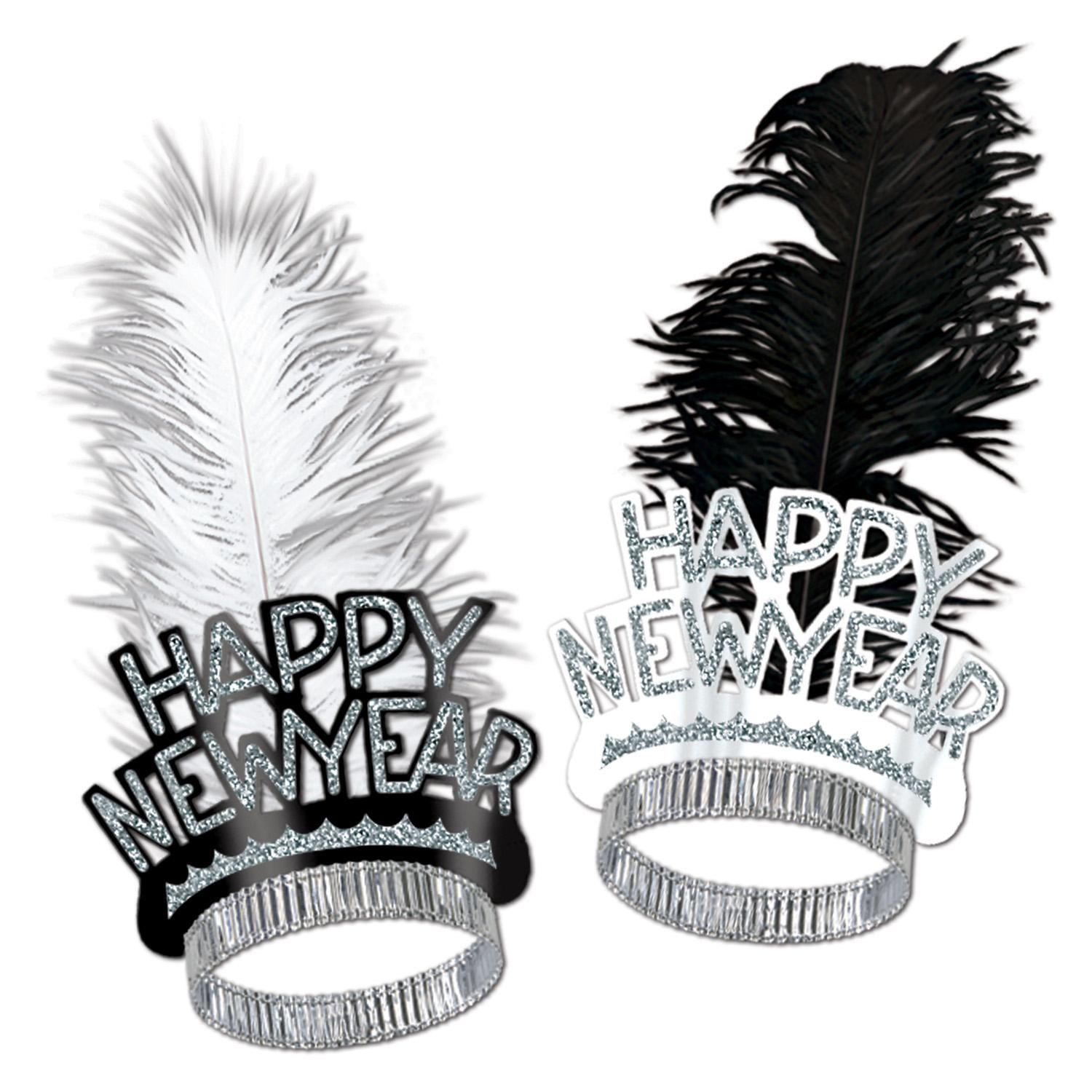 Club Pack of 50 Black and Silver Foil Happy New Year Glitter and Feather Tiaras