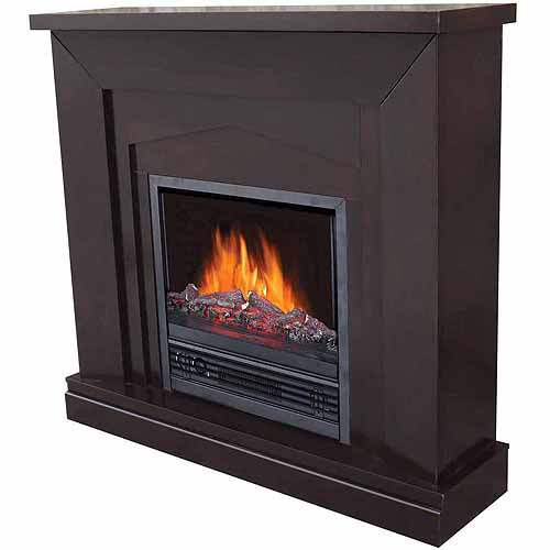 "Electric Fireplace with 47"" Mantle, Dark Chocolate"