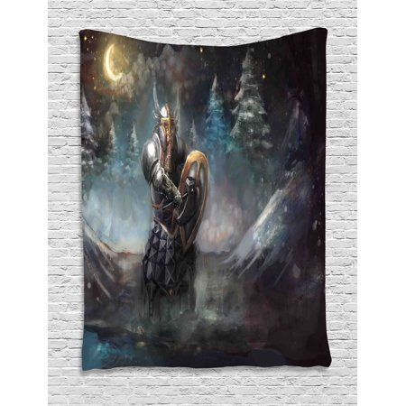 Fantasy Tapestry, Artistic Illustration of Medival Dwarf Knight in Gothic Shield in Mysterious Forest, Wall Hanging for Bedroom Living Room Dorm Decor, Multicolor, by (Gothic Shield)
