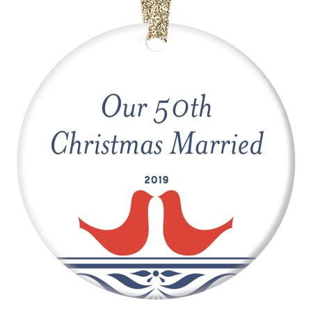 50th Golden Wedding Anniversary Ornament 2019 Christmas Keepsake Parents Mom Dad Grandparents Celebration 50 Fifty Years Married Together Happy Couple 3