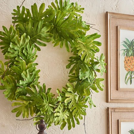 """26"""" Green and Brown Philondrendon Leaves and Twigs Artificial Tropical Wreath - image 1 de 2"""