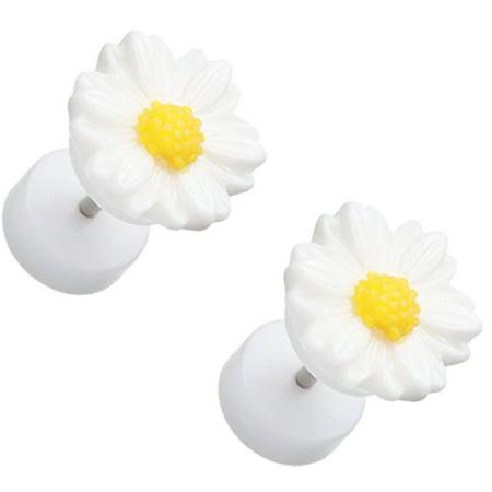 Earrings Rings Cutesy Daisy Flower Acrylic 16g 316L Surgical Steel Fake Plugs Pair