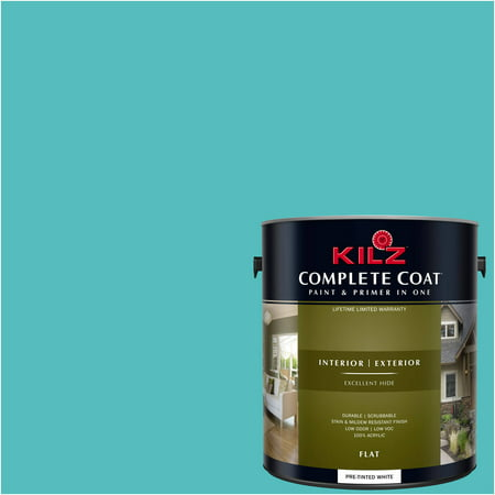 KILZ COMPLETE COAT Interior/Exterior Paint & Primer in One #RF190-02 Vivid (Best Turquoise Paint Color For Furniture)
