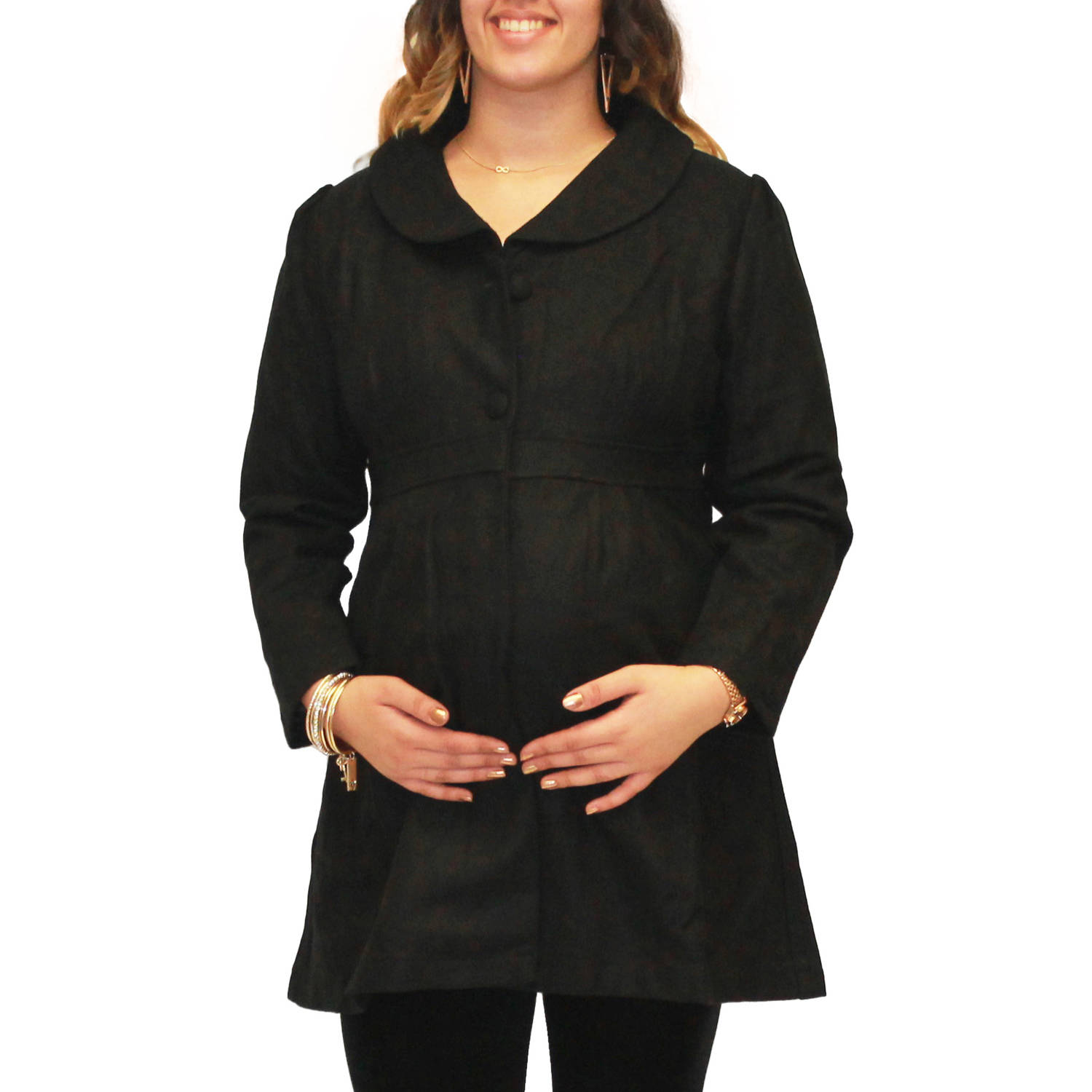 Dynabelly Maternity Button-Up Empire Waist Peacoat