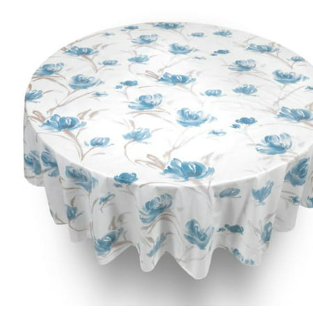 Royal Bath 70 Round Vinyl Tablecloth With Flannel Backing, Parttern Name: Georgia (Vinyl Round Tablecloth)