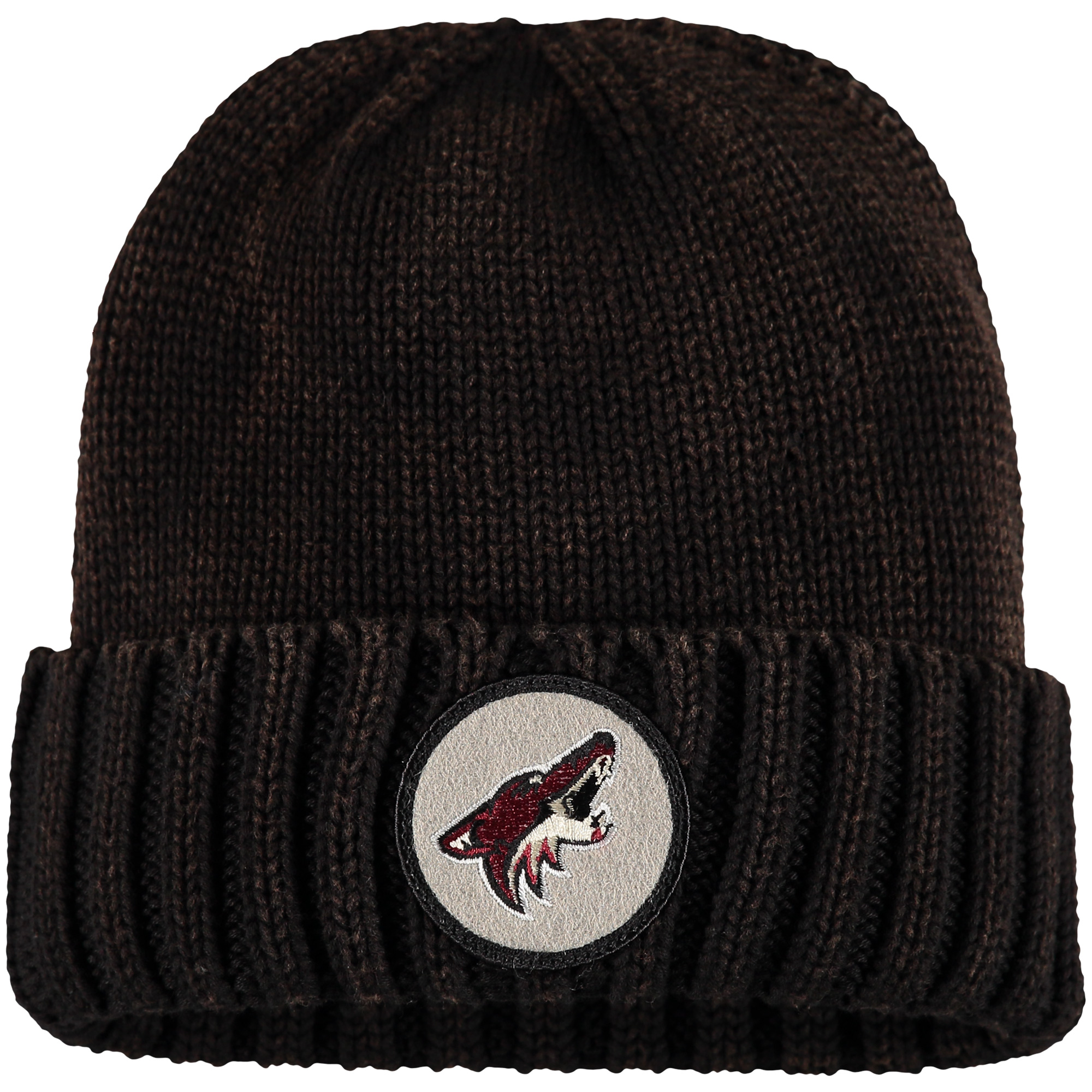 Arizona Coyotes Mitchell & Ness Current Logo Ribbed Cuffed Knit Hat - Brown - OSFA