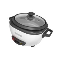 BLACK+DECKER 6-Cup Rice Cooker with Steaming Basket, White, RC506