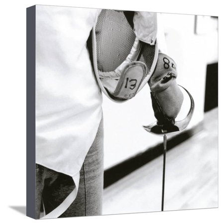 Person Holding a Fencing Sword Stretched Canvas Print Wall - A Fencing Sword