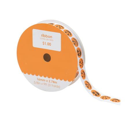 0.625' Ribbon - White with Orange Pumpkin Ribbon, 1 Each