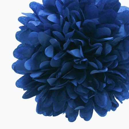 Quasimoon EZ-FLUFF 8'' Navy Blue Tissue Paper Pom Pom Flowers, Hanging Decorations (4 Pack) (Pre-Folded) by PaperLanternStore - Pom Pom Flowers Name