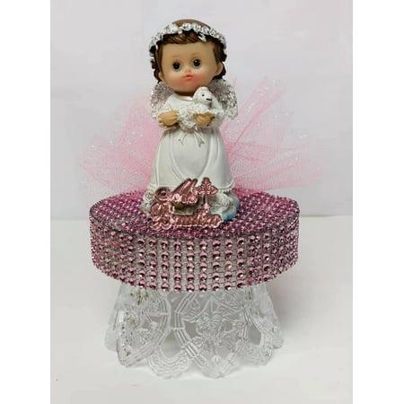 Mi Bautizo-Pink Baptism Angel Girl With Sheep Cake Topper Centerpiece Decoration 6.5