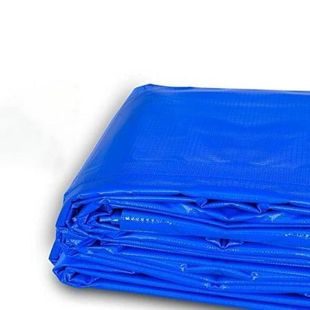 Moose Supply 4' x 18', 12 mil PVC Vinyl Heavy Duty Waterproof Tarp Covers, Blue (12mil Tarp)