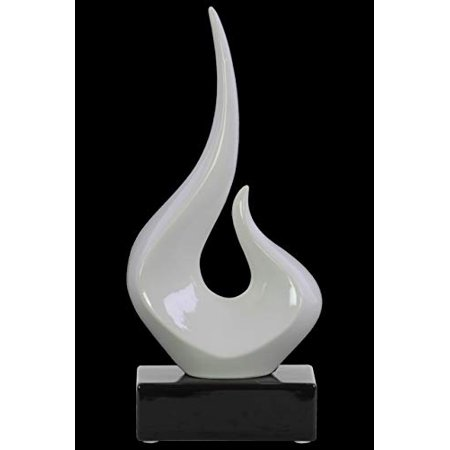 Abstract Swirl Sculpture on Black Rectangular Base In Ceramic, Glossy (Rectangular Sculpture)