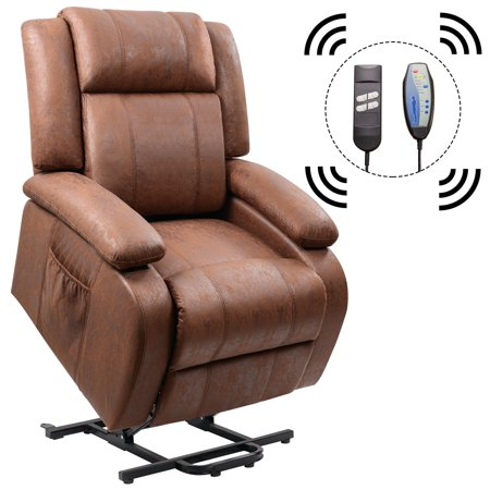 Homall Power Lift Recliner Chair with Massage Single Sofa Living Room Chair Huge Thick Padded Sofa Seat (Brown) ()