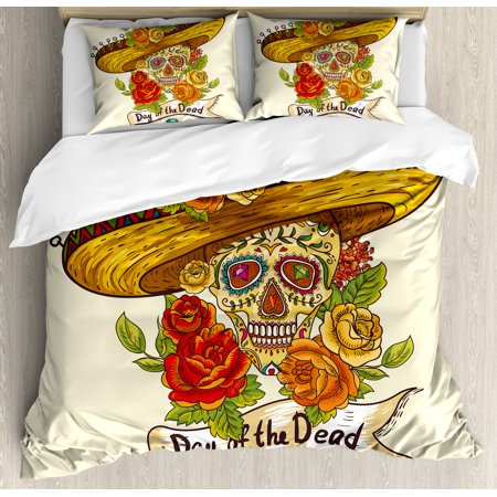 Sugar Skull Duvet Cover Set, Skull in a Sombrero Traditional Mexican Culture Theme Roses Day of the Dead, Decorative Bedding Set with Pillow Shams, Multicolor, by Ambesonne for $<!---->