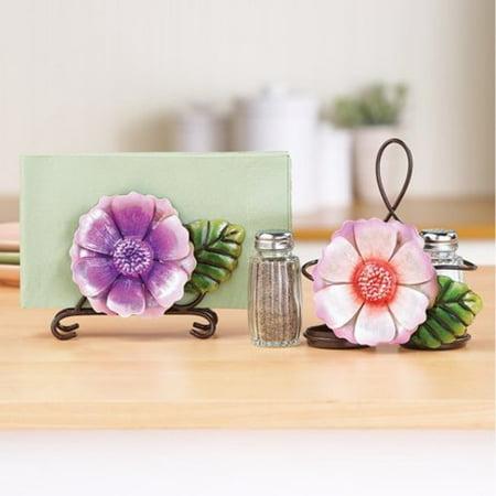 Spring Floral Napkin Holder and Salt & Pepper Caddy Pepper Napkin Holder