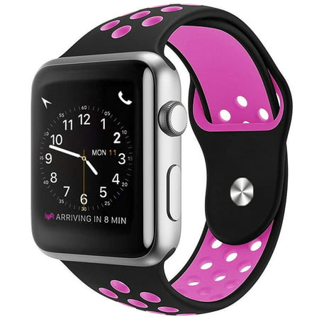 Apple Watch Replacement Bands 42mm, Soft Silicone Replacement Wristband for iWatch Apple Watch Series 1/2/3/Nike+ - Black/Pink - image 1 of 1
