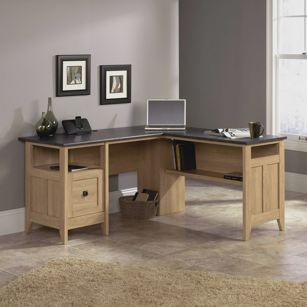 Sauder August Hill L-Desk, Dover Oak
