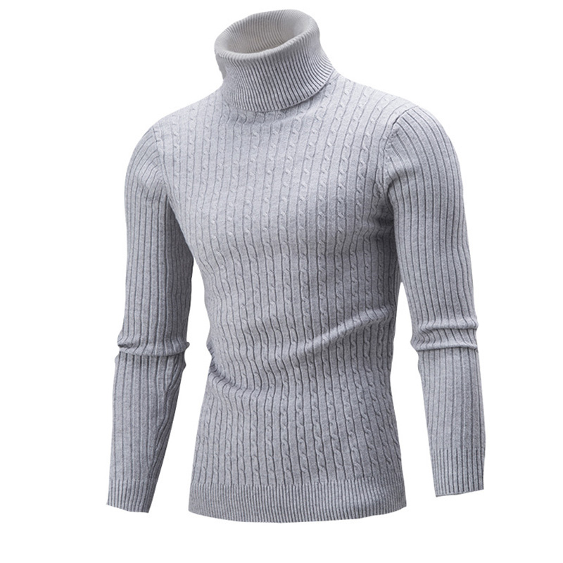 Men/'s Autumn Winter Turtleneck Knitted Sweater Casual Long Sleeve Tops Pullover