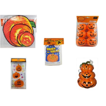 Halloween Fun Gift Bundle [5 Piece] - Classic Pumpkin Cutouts Set of 9 - Party Favors Pumpkin Candy Containers 6 Count -  Trick or Treat Bags 40/ct - Gel Clings Pumpkins, Stars - Motion-activated Sp