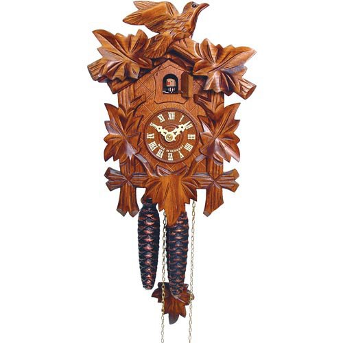Traditional 5 Leaf and Bird Cuckoo Clock