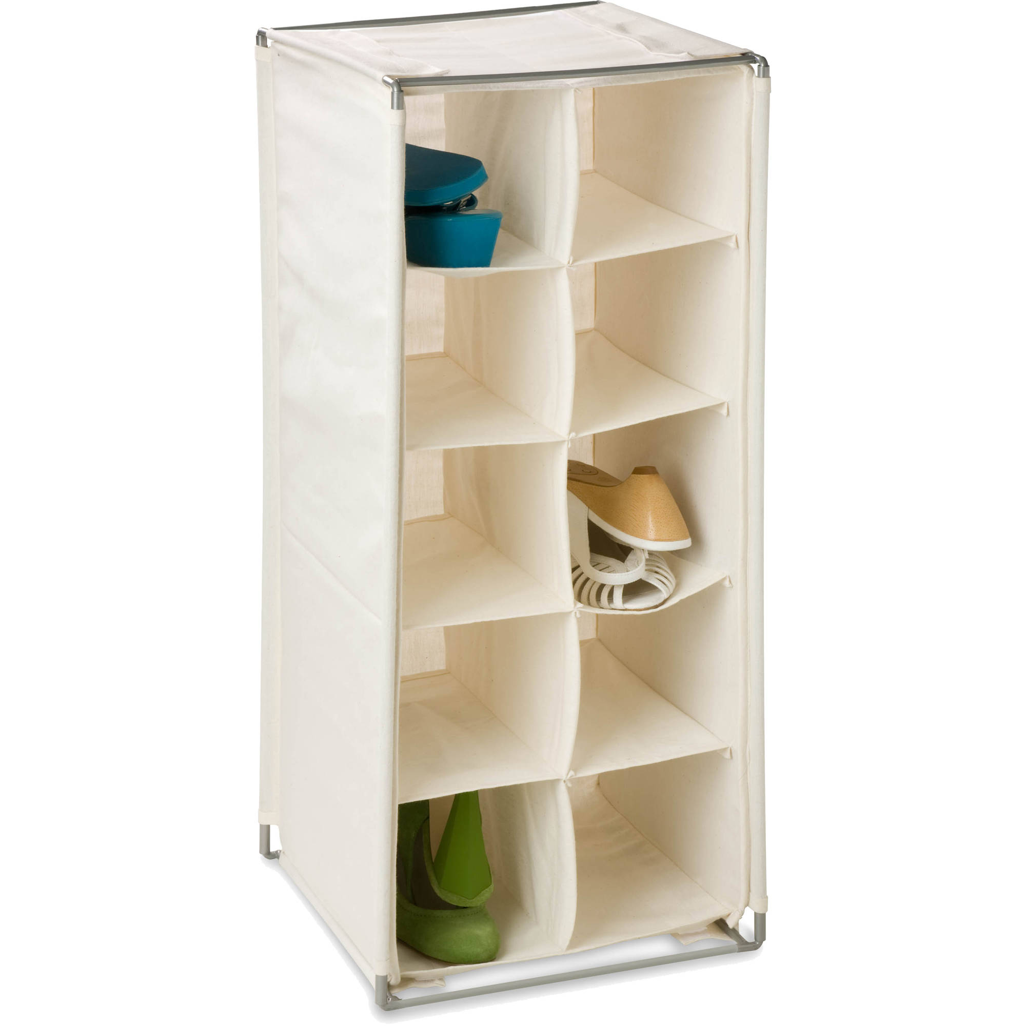 Honey Can Do Shoe Rack with 10 Shelves and Steel Wire Frame, Beige