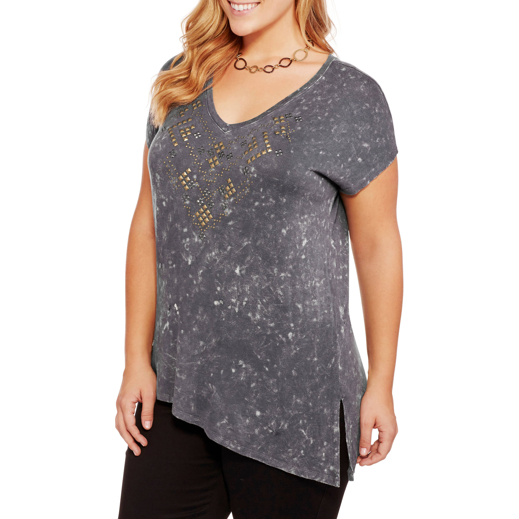 Women's Plus V Neck Knit Tee with Stud Design Details