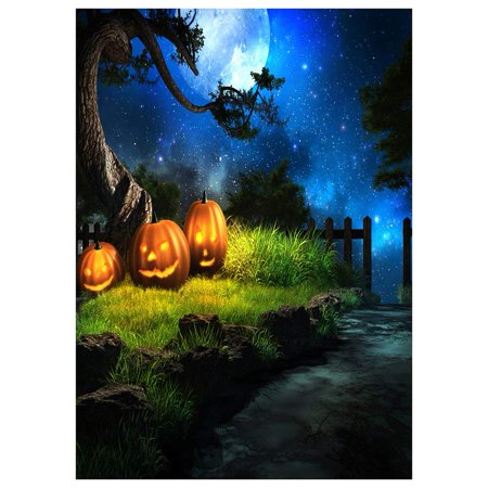 ABPHOTO Polyester Photography Background Photo Backdrops Magic Theme Horror night wooden fence, lawn, tree, pumpkin lights, moon, sky for Halloween - List Halloween Horror Nights Themes